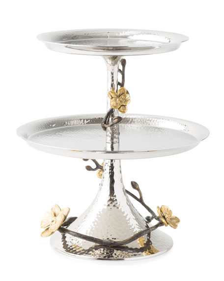 Golden Orchid Two-Tier Etagere
