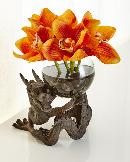 NDI Orchid Cymbidium Faux-Floral Arrangement in Dragon Vase,