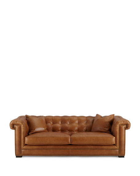 The Eleanor Rigby Leather Company Zayden Chesterfield Leather Sofa