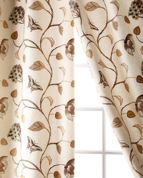 "Creative Threads Butterfly Linen/Cotton Curtain, 108"""