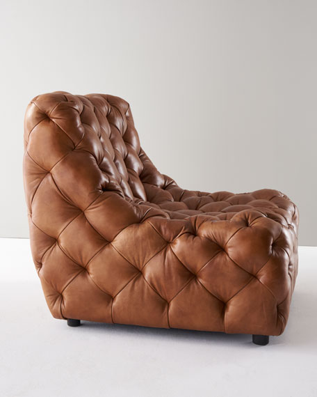 Dunaway Camel Tufted Leather Chair