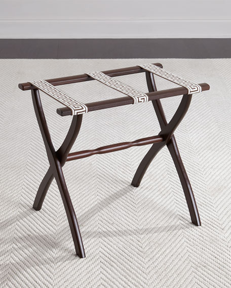 Luggage Rack with Greek Key Detailing, Chocolate