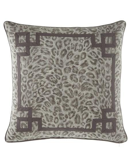 Jane Wilner Designs Bally Leopard-Print w/ Fretwork Decorative Pillow