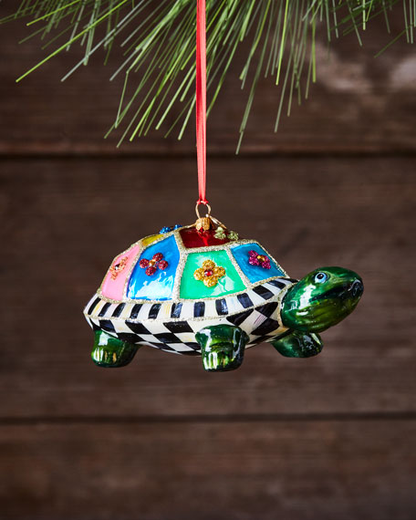 MacKenzie-Childs St. Tropez Turtle Glass Ornament