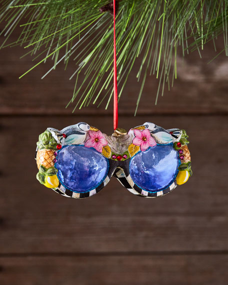 MacKenzie-Childs St. Tropez Sunglasses Glass Ornament