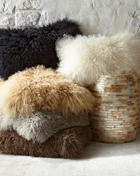 "Moonscape Flokati Wool Pillow, 11"" x 22"""