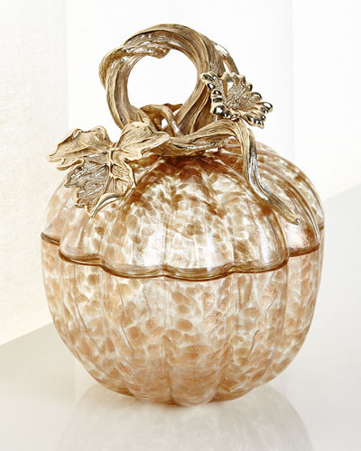 Small Gilded Glass Pumpkin Box