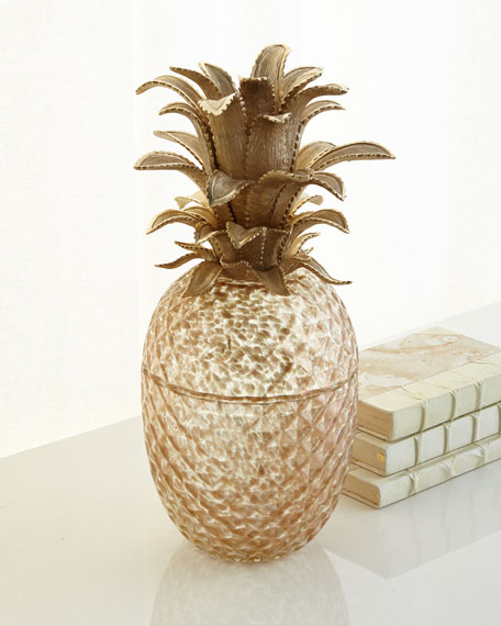 Jay Strongwater Palm Leaf Gilded Glass Jar