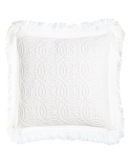 "White Knit Anka Pillow, 20""Sq."