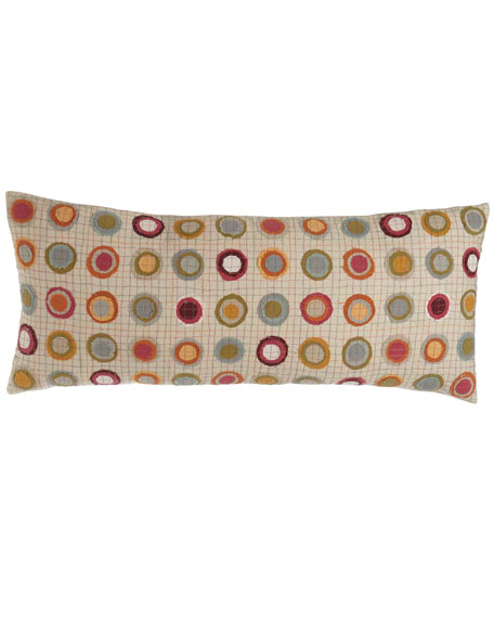 "Veva Pillow with Circle Appliques, 15"" x 35"""