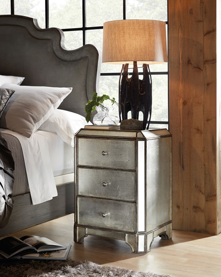 Hooker Furniture Visage Eglomise Mirrored Nightstand