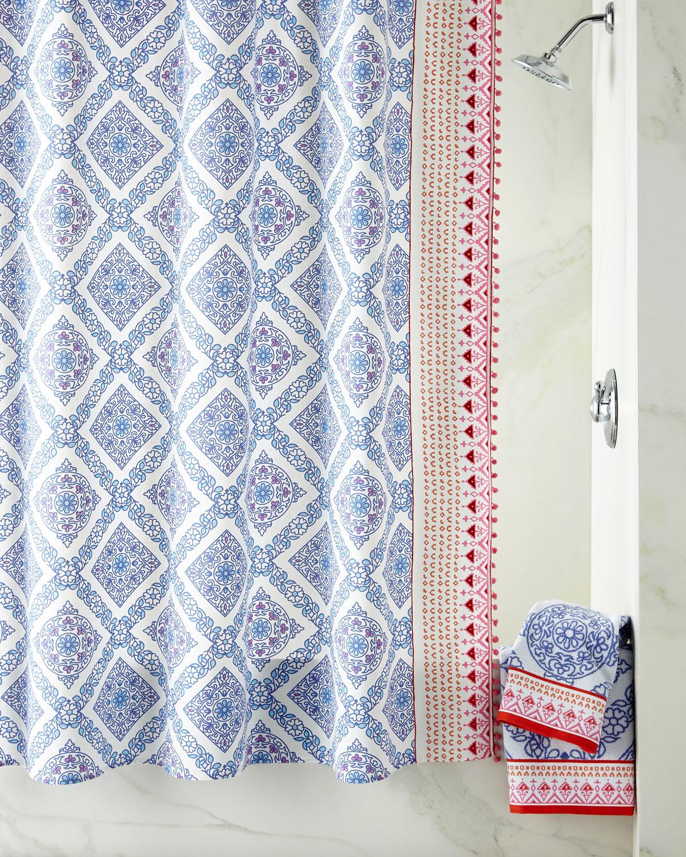 John Robshaw Mitta Periwinkle Shower Curtain Neiman Marcus