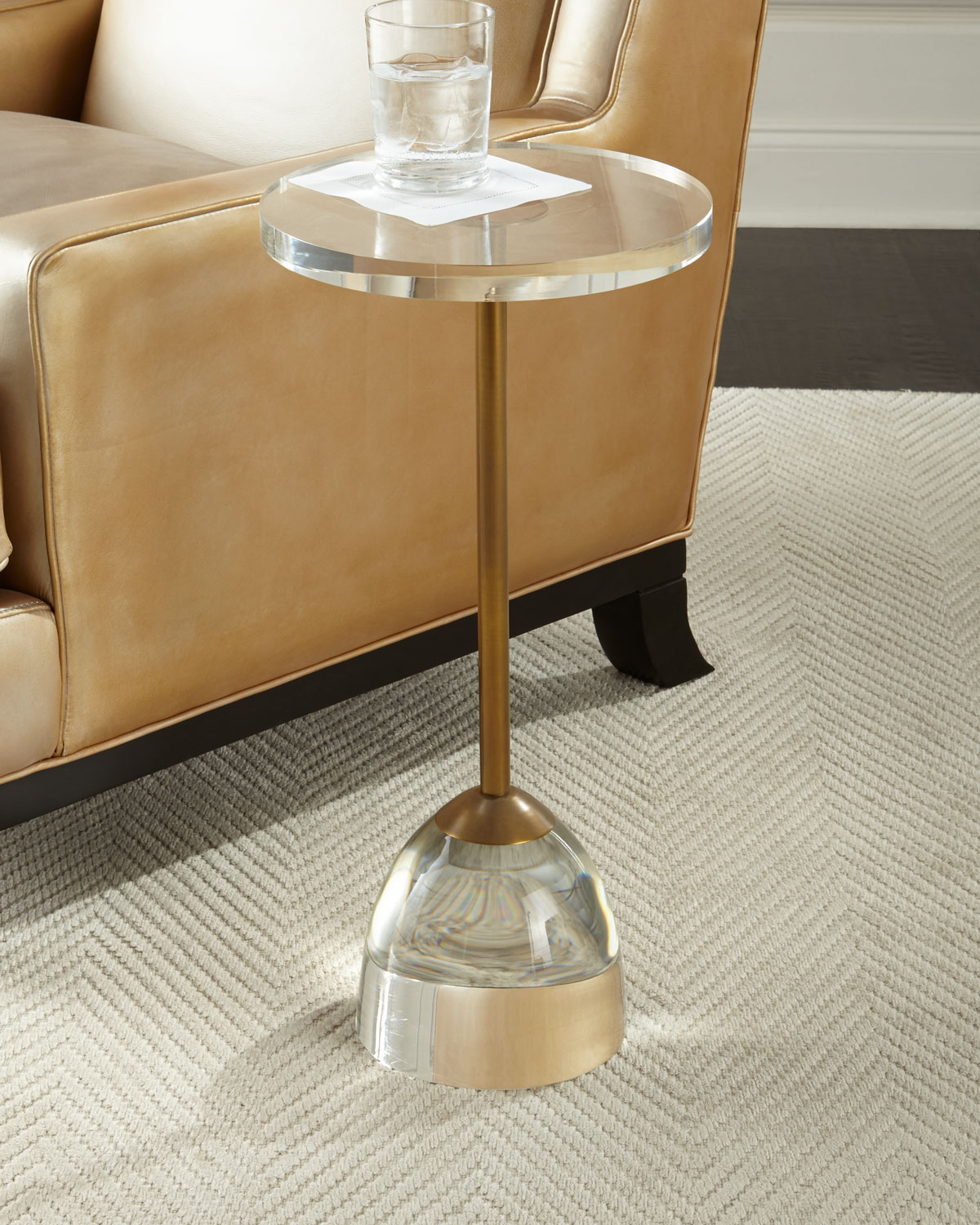 John-Richard Collection Brass and Acrylic Martini Side Table