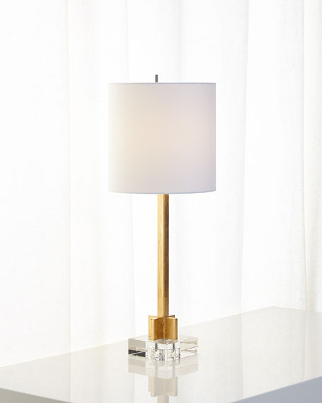 Abita Gold Leaf Lamp with Linen Shade and Crystal Base