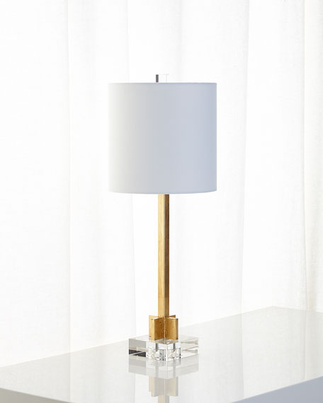 Abita Gold Leaf Lamp with Linen Shade and