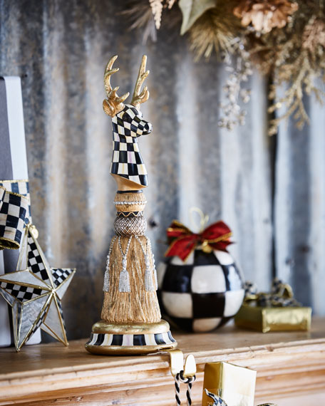 MacKenzie-Childs Precious Metals Deer Tassel Christmas Stocking