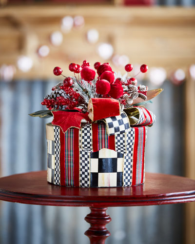 Tartan Frost Hat Box Holiday Decor