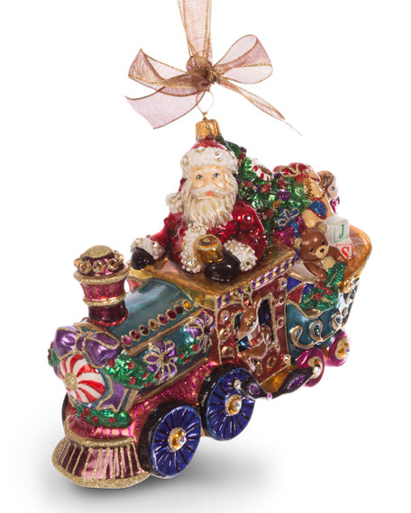 Jay Strongwater Santa on Train Ornament