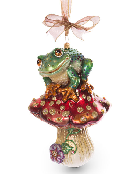 Jay Strongwater Frog on Mushroom Ornament