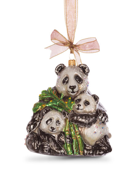 Jay Strongwater Mother Baby Panda Ornament