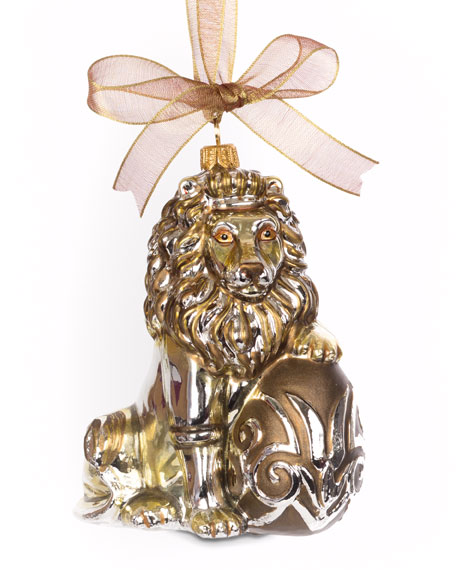 Jay Strongwater Gilded Lion Egg Ornament