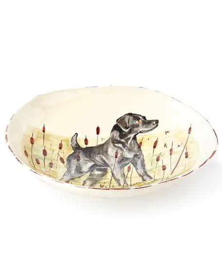 Wildlife Black Hunting Dog Large Serving Bowl