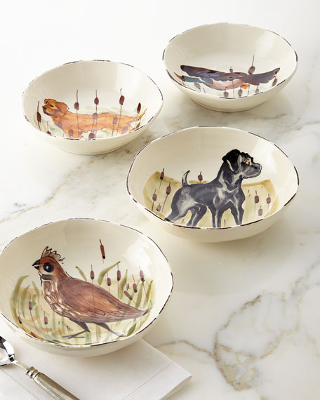 Vietri 4 Assorted Wildlife Pasta Bowls