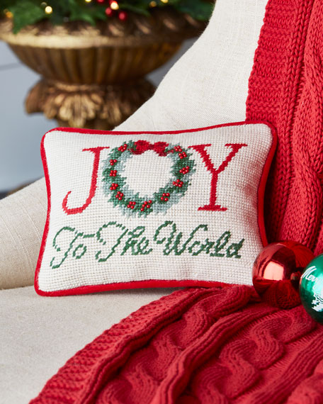 Joy to the World Needlepoint Pillow