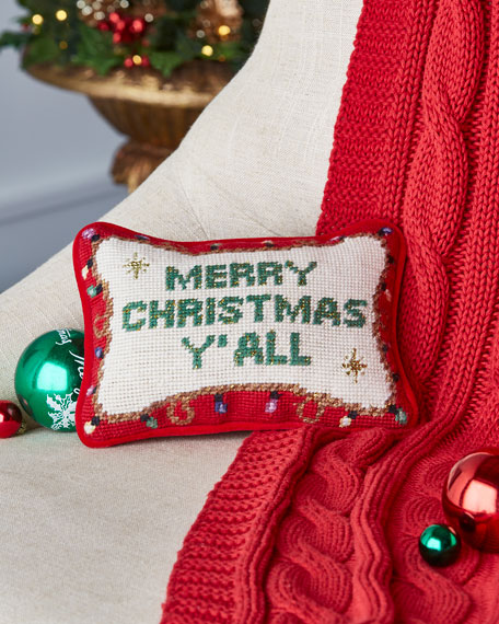 Merry Christmas Y'all Needlepoint Pillow