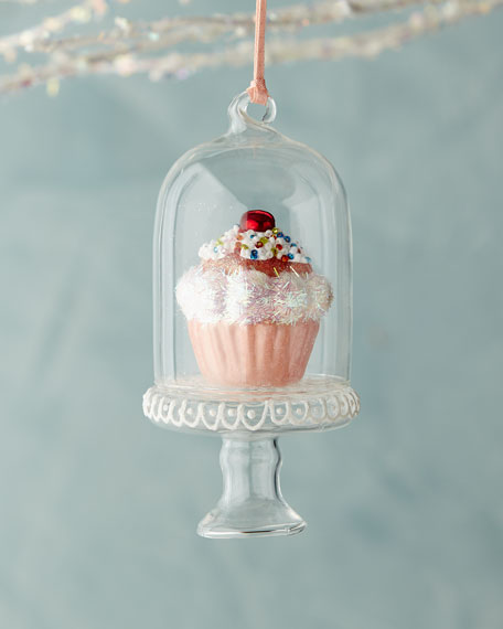 Light Pink Cupcake in Dome Ornament