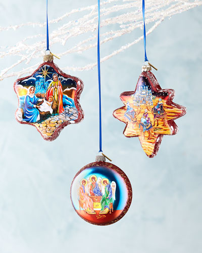 Nativity Ornaments, Set of 3