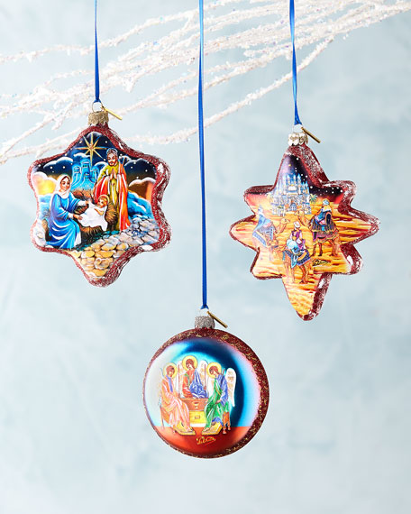 G. Debrekht Nativity Ornaments, Set of 3