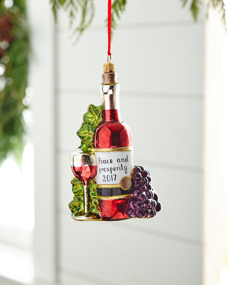 Wine with Grapes/Peace & Prosperity 2017 Ornament