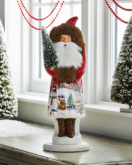 Santa with Snowman Scene Collectible