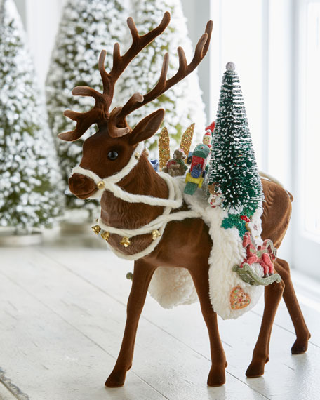 Ino Schaller Flocked Brown Reindeer with Toys Collectible