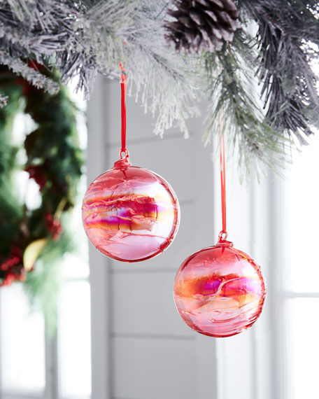 Jim Marvin Playful Brights Marble Ball Ornament, Pink