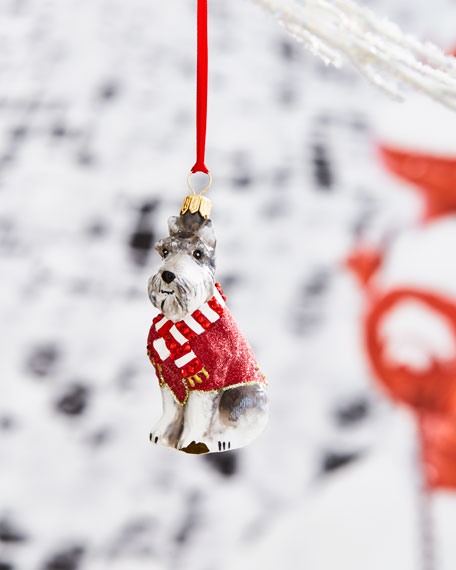 Joy To The World Collectibles Gray Schnauzer in Red Sweater Ornament