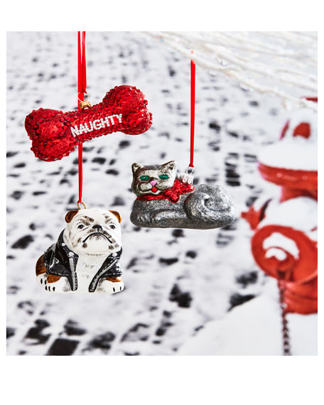 Reversible Naughty or Nice Dog Bone Ornament