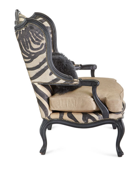 Image 2 of 4: Massoud Wilder Leather Zebra Wing Chair