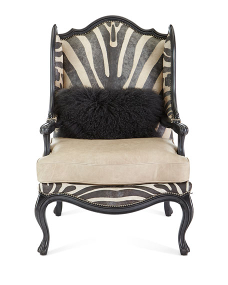 Image 3 of 4: Massoud Wilder Leather Zebra Wing Chair