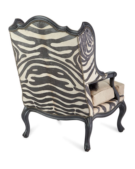 Image 4 of 4: Massoud Wilder Leather Zebra Wing Chair