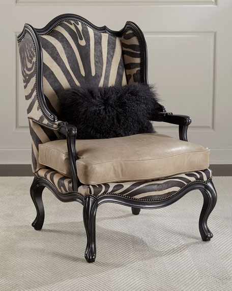 Image 1 of 4: Massoud Wilder Leather Zebra Wing Chair
