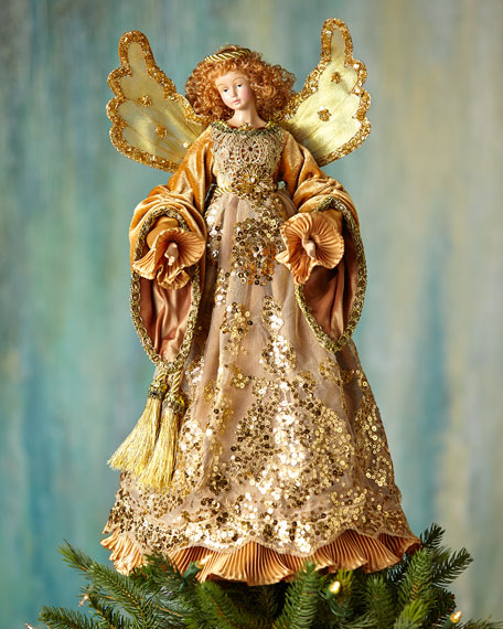 Katherine's Collection Golden Angel Christmas Tree Topper