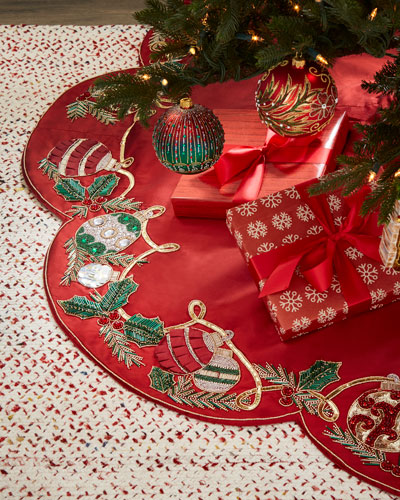 red green collection holiday tidings tree skirt - Christmas Tree Skirts