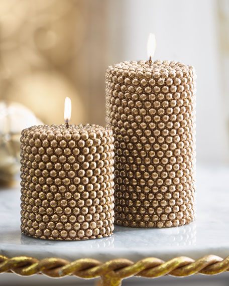"""Golden """"Pearl"""" Candle, Small"""
