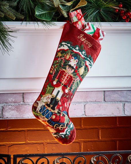 SFERRA Nutcracker Needlepoint Stocking