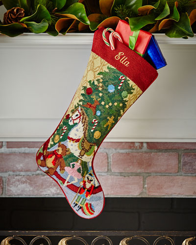 sferra christmas toys needlepoint stocking