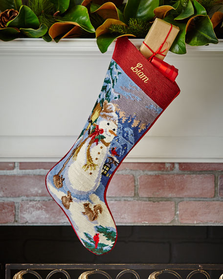 SFERRA Snowman Needlepoint Stocking