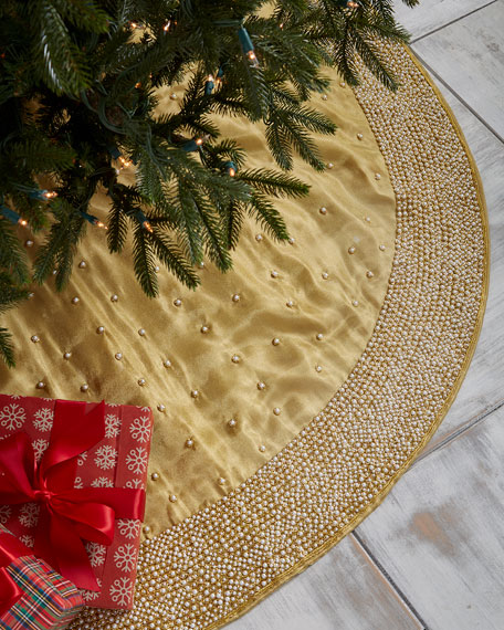 """Gold & Glitter Collection Embroidered Organza Tree Skirt, 60"""""""