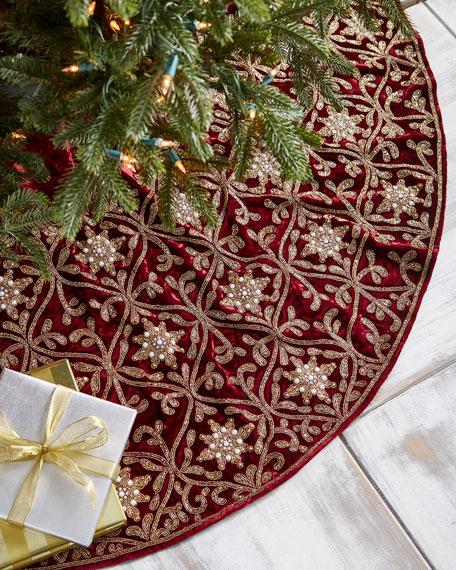 Hand-Embroidered Velvet Tree Skirt